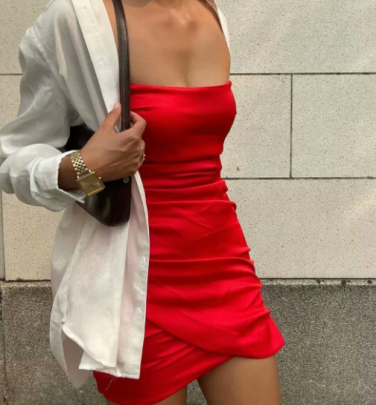 Silk Satin Solid Color Off-shoulder Tube Top Pleated Dress Nihaostyles Wholesale Clothing NSAM83393