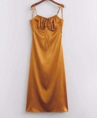 Satin Wrap Chest Strap High Waist Side Slit Mid-length Dress Nihaostyles Wholesale Clothing NSAM83407