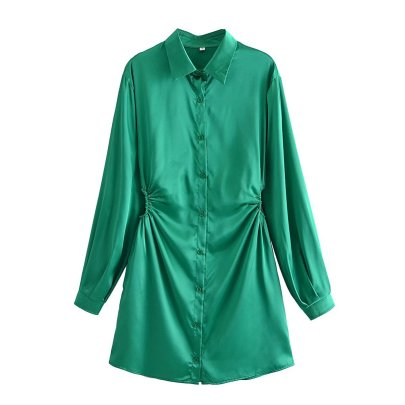 Satin Belted Solid Color Long-sleeved Shirt Dress Nihaostyles Wholesale Clothing NSAM83385