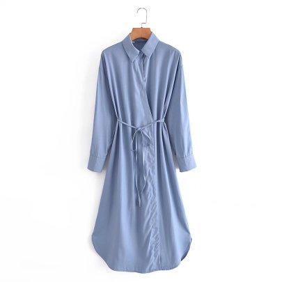 Autumn Satin Lace-up Shirt Dress Nihaostyles Wholesale Clothing NSAM83412
