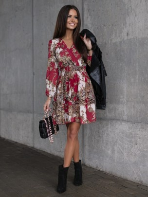 V-neck Print Dress Nihaostyles Clothing Wholesale NSOUY83246