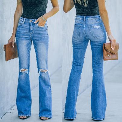 Ripped Slim Bell-bottom Jeans Nihaostyles Wholesale Clothing NSJRM82012