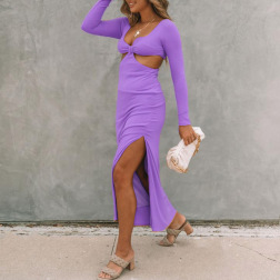solid color long-sleeved hollow dress nihaostyles clothing wholesale NSZH83672