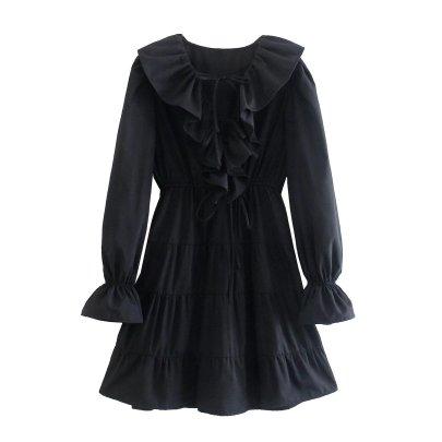 Ruffled Lapel Long-sleeved Lace-up Black Dress Nihaostyles Wholesale Clothing NSAM83772