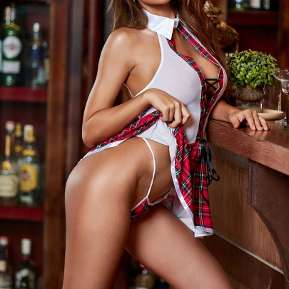 Mesh Underwear With Plaid Dress Set Nihaostyles Clothing Wholesale NSFCY83792