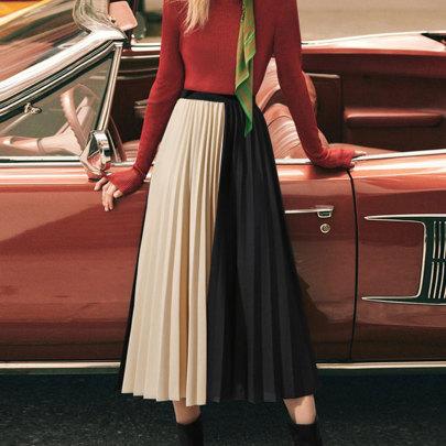 Color Matching Pleated Chiffon Skirt Nihaostyles Wholesale Clothing NSJC83498