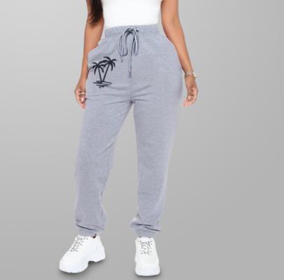 Coconut Print Plus Velvet Casual Drawstring Pants Nihaostyles Wholesale Clothing NSXIA83503