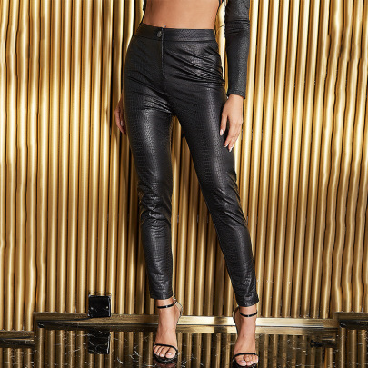 Sexy Snake Print High Waist PU Leather Casual Leggings Nihaostyles Wholesale Clothing NSGHW83847