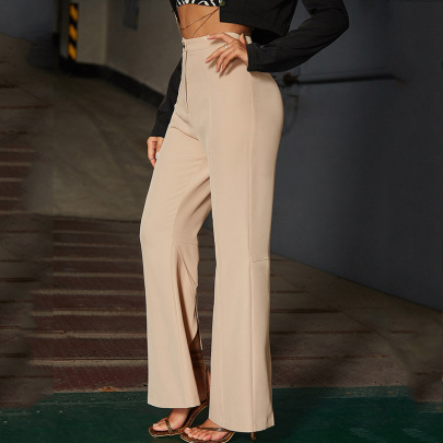 High-waisted  Elastic Wide-leg Flared Pants Nihaostyles Wholesale Clothing NSGHW83851