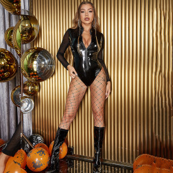 Halloween PU leather mesh stitching long-sleeved tight jumpsuit nihaostyles wholesale halloween costumes NSGHW83865