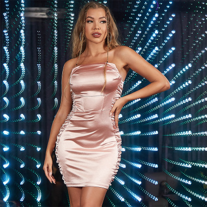 Sexy Tube Top Satin Backless Wrapped Chest Pleated Dress Nihaostyles Wholesale Clothing NSGHW83899