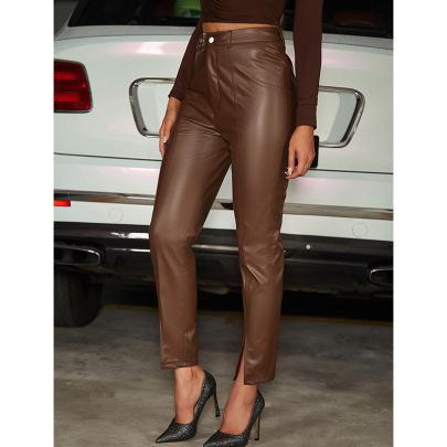 Retro High-waist Tight PU Leather Slit Pants Nihaostyles Wholesale Clothing NSGHW83923