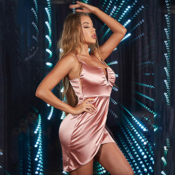 sexy high waist deep V wrapped chest pink satin sling dress nihaostyles wholesale clothing NSGHW83924