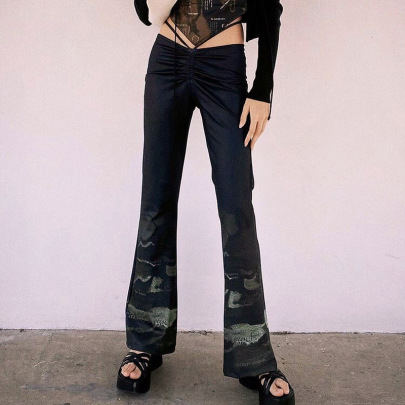 Low-waist Pleated Lace-up Printing Bootcut Trousers Nihaostyles Clothing Wholesale NSSWF83999