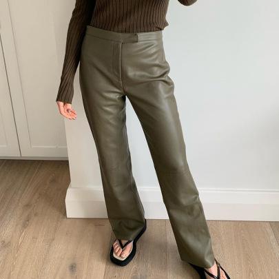 PU Leather Slim Straight Casual Pants Nihaostyles Wholesale Clothing NSHLJ84067