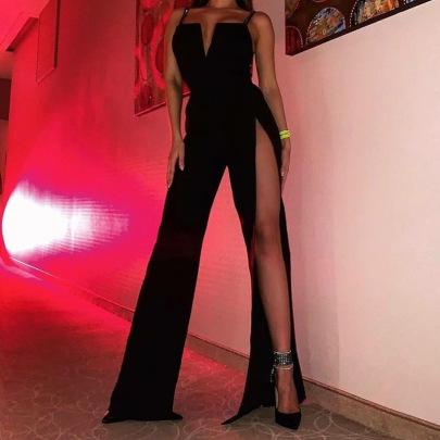 Pure Color High Waist Slit Casual Pants Nihaostyles Wholesale Clothing NSHLJ84081