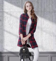 long plaid round neck slim long sleeve woolen jacket  NSJR17179