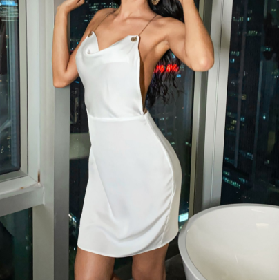 Satin Backless Metal Suspender Short Dress Nihaostyles Wholesale Clothing NSGHW83821