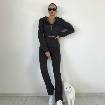 Letter Embroidered Full Zipper Hoodie Trousers Yoga Set Nihaostyles Clothing Wholesale NSFLY84169