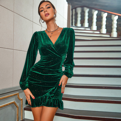 Solid Color Velvet Long-sleeved Dress Nihaostyles Clothing Wholesale NSWX84189