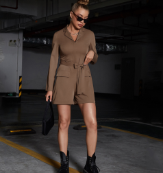 self-cultivation elastic lace-up solid color long-sleeved shorts jumpsuit nihaostyles wholesale clothing NSGHW83839
