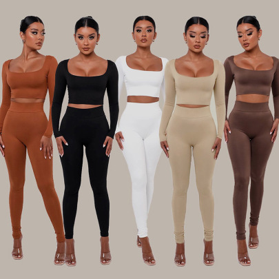 Women's Solid Color Low Square-neck Long-sleeved T-shirt And High-waist Tight Trousers Suit Nihaostyles Wholesale Clothing NSMX84177