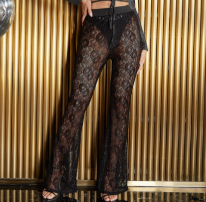 High-waist Lace Perspective Pattern Wide-leg High-elastic Pants Nihaostyles Wholesale Clothing NSGHW83894