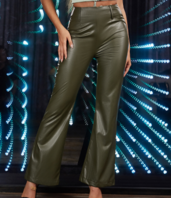 High Waist PU Leather Bell Bottom Pants Nihaostyles Wholesale Clothing NSGHW83919