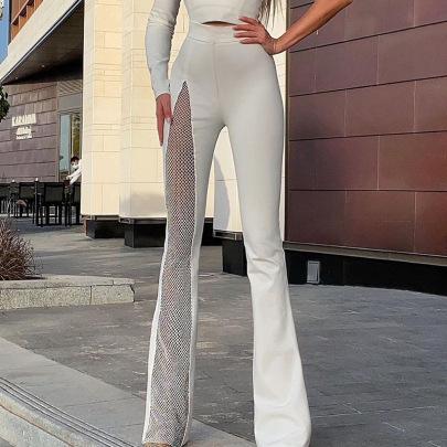 Slit Mesh High-waisted Bootcut Pants Nihaostyles Clothing Wholesale NSHLJ84224