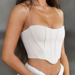 solid color stitching sling cropped sleeveless top nihaostyles clothing wholesale NSMG84229