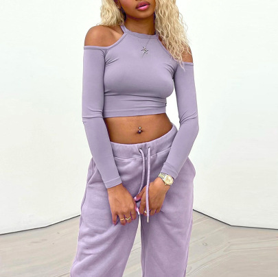 Splicing Solid Color Long-sleeved Top Belt Trousers Set Nihaostyles Clothing Wholesale NSMG84231