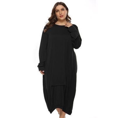 Solid Color Round Neck Long Sleeve Dress Nihaostyles Clothing Wholesale NSJR84239