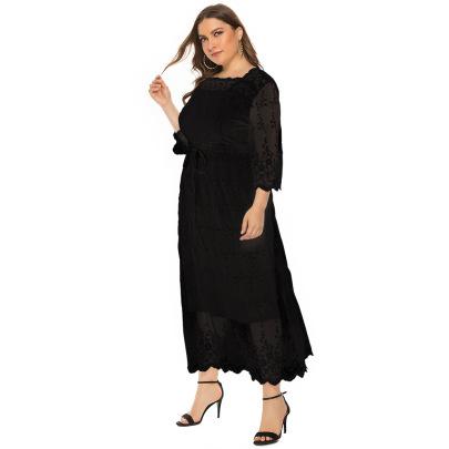 Plus Size Lace Mid-sleeve Long Dress Nihaostyles Clothing Wholesale NSJR84241