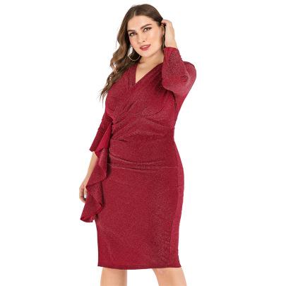 Plus Size V-neck Slim-fit Slit Dress Nihaostyles Clothing Wholesale NSJR84242