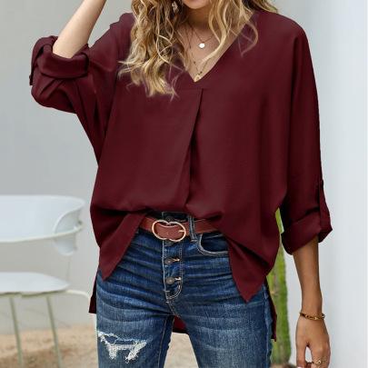 Plus Size Loose V-neck Long-sleeved Shirt Nihaostyles Clothing Wholesale NSJR84245