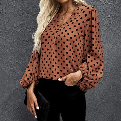 V-neck Polka-dot Loose Lantern Sleeve Shirt Nihaostyles Clothing Wholesale NSJR84246