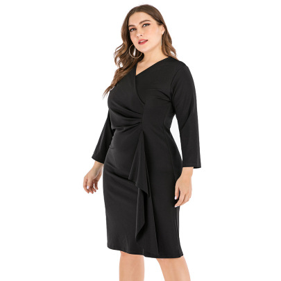 Plus Size V-neck Solid Color Long-sleeved Ruffled Dress Nihaostyles Clothing Wholesale NSJR84247