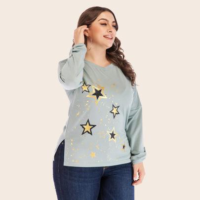 Plus Size Bronzing Round Neck Loose Long-sleeved T-shirt Nihaostyles Clothing Wholesale NSJR84250