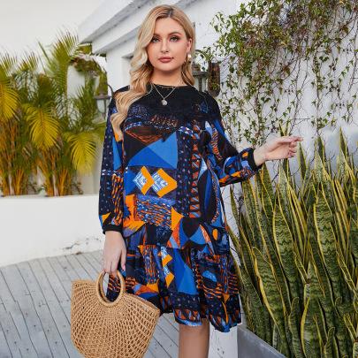 Plus Size Lace Stitching Printing Mid-length Loose Dress Nihaostyles Clothing Wholesale NSJR84255
