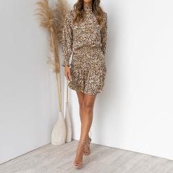 leopard print long-sleeved elastic dress nihaostyles clothing wholesale NSJR84258