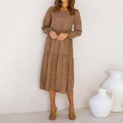 long-sleeved leopard print pleated dress nihaostyles clothing wholesale NSJR84261