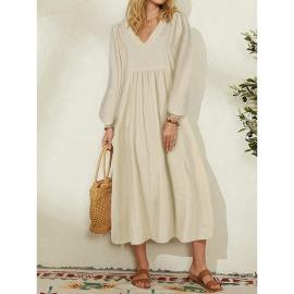 cotton loose lantern sleeve dress nihaostyles clothing wholesale NSGYX84276