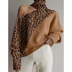 high collar oblique shoulder solid color pullover sweater nihaostyles clothing wholesale NSGYX84280