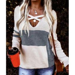 plain cross strap V-neck sweater nihaostyles clothing wholesale NSGYX84284