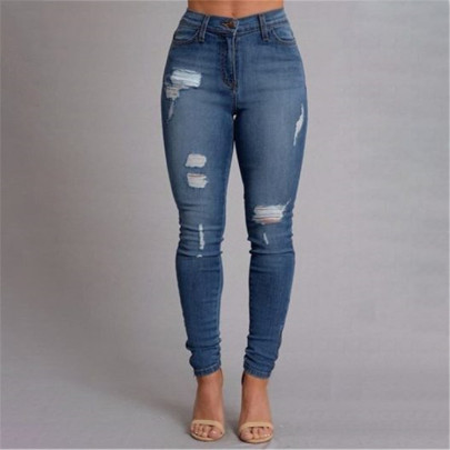 Slim Torn Jeans Nihaostyles Clothing Wholesale NSWL84307