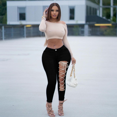 Bandage Ripped Jeans Nihaostyles Clothing Wholesale NSWL84313