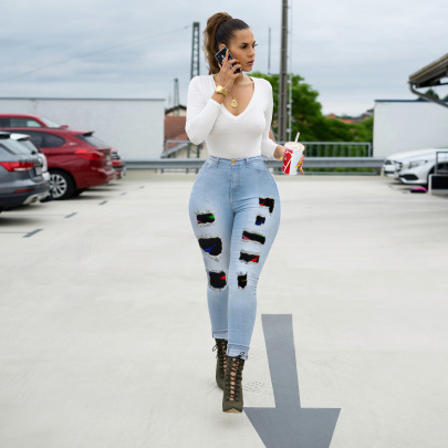 Slim Ripped Stitching Jeans Nihaostyles Clothing Wholesale NSWL84314