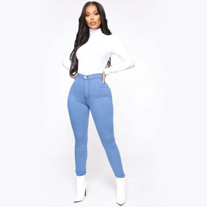 High Stretch Slim-fit Solid Color Trousers Nihaostyles Clothing Wholesale NSWL84315