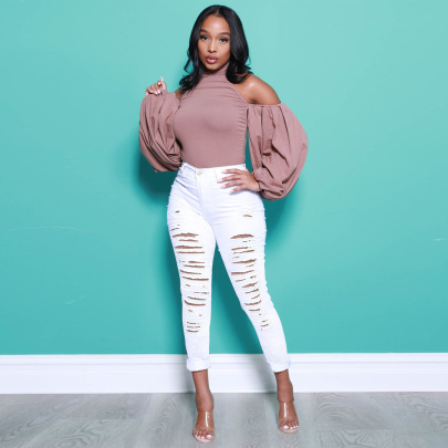 Solid Color Torn Jeans Nihaostyles Clothing Wholesale NSWL84316