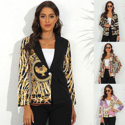 Autumn And Winter Print Lapel Blazer Nihaostyles Wholesale Clothing NSJC84480